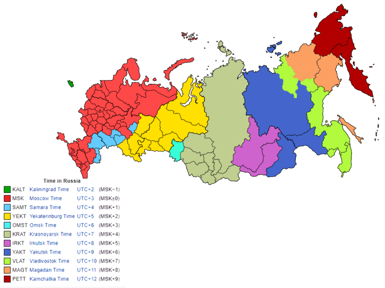 Russia Time Zone By Map