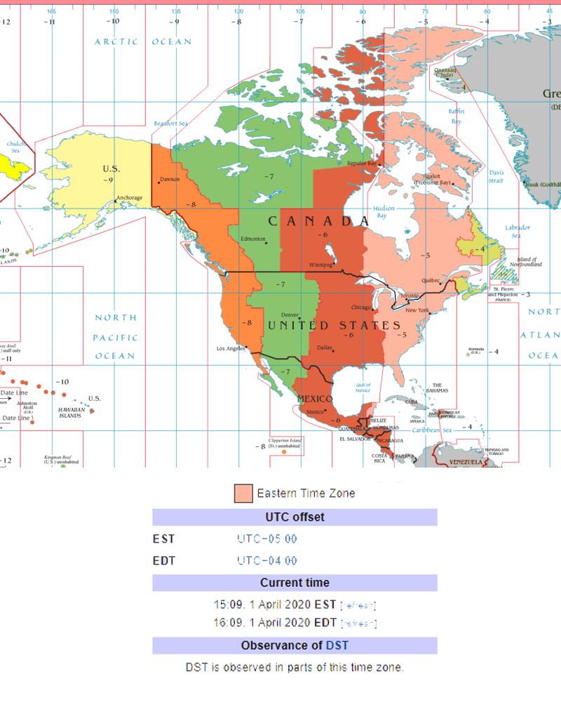 North America Time Zone By Map